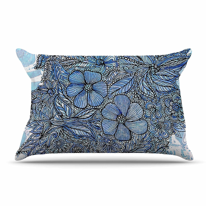 30 X 20 Kess InHouse Julia Grifol Blue Flowers in My Garden Aqua NavyFeatherweight Sham