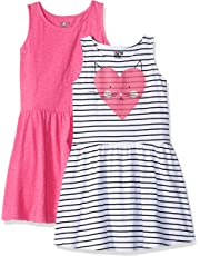 Amazon Brand - Spotted Zebra Girls' Toddler & Kid 2-Pack Knit Sleeveless Fit and Flare Dresses