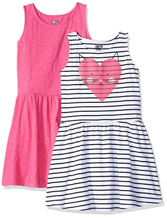 Brand Spotted Zebra Girls Toddler /& Kids 2-Pack Knit Sleeveless Fit and Flare Dresses