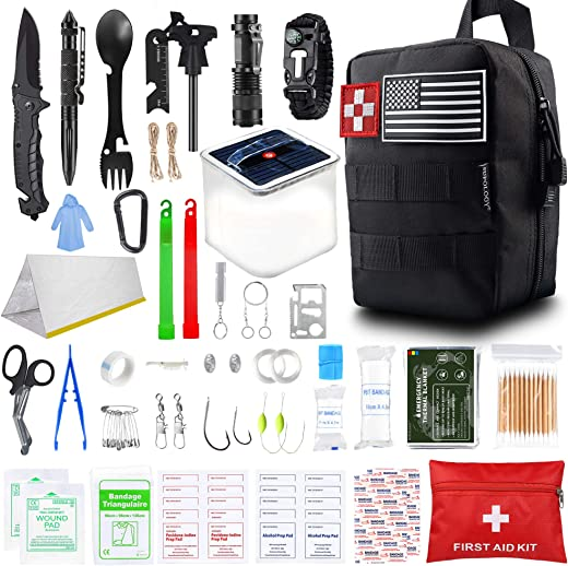 SUPOLOGY Survival Kit, 131Pcs IFAK Tactical Tools Hunting Gear Emergency Supplies Fishing Tools Molle Pouch for Adventures Camping Hiking Disaster Hurricane Car, Gifts for Men Dad Boy