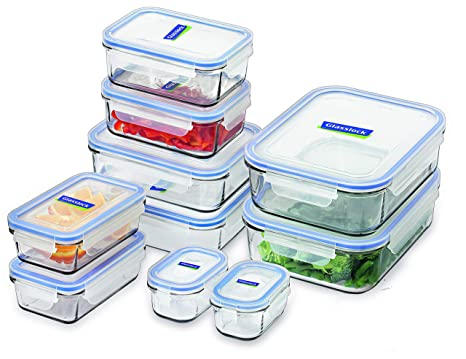 5d44de067898 Glasslock Tempered Glass Food Container, 10-Piece Set, Clear, GL-419