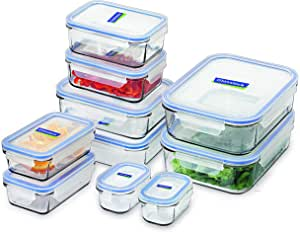 Glasslock Tempered Glass Food Container, 10-Piece Set, Clear, GL-419