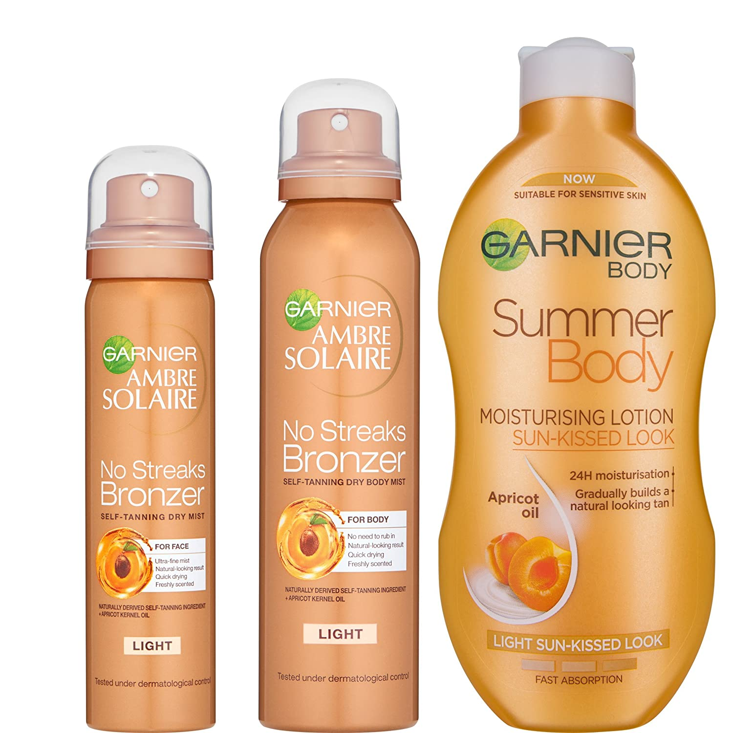 Garnier Summer Body and Ambre Solaire Light Self Tan Mist Kit, 3-Pieces L' Oreal 5021044120900