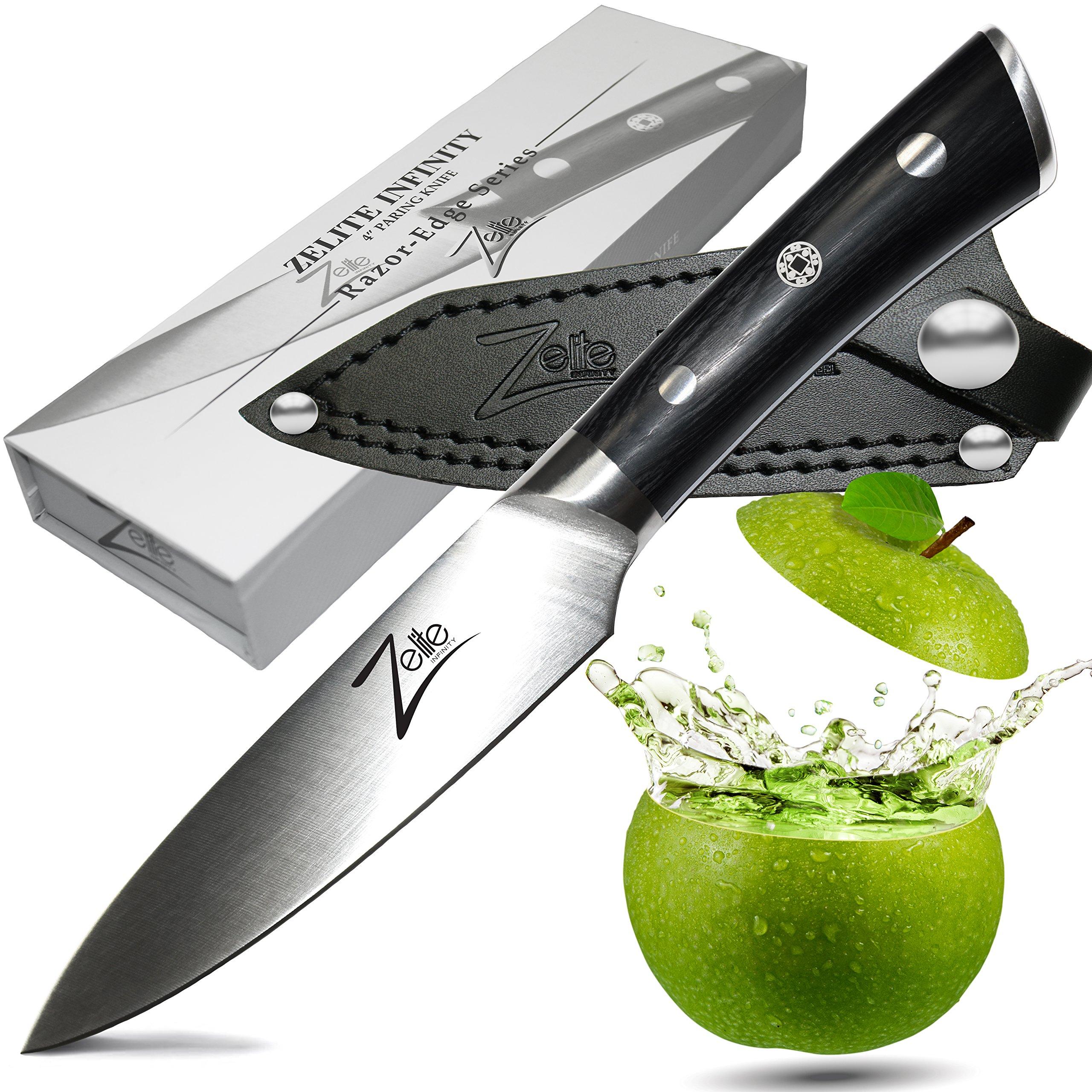 ZELITE INFINITY Paring Knife 4 Inch >> Razor-Edge Series > Best Quality Japanese AUS8 High Carbon Stainless Steel, Black Pakkawood Handle, Full-tang, Sleek Chef Design, Ultra-Premium Leather Sheath by Zelite Infinity