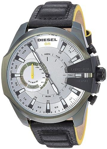 Diesel On - Reloj Inteligente híbrido para Hombre, Piel sintética, Piel sintética, Color Negro: Amazon.es: Relojes
