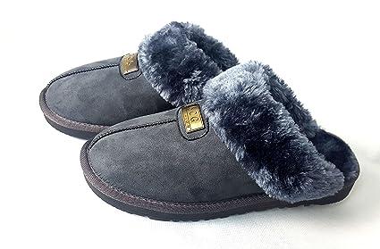 494488472953 Geniune GCG Ladies Faux Sheepskin Slippers Mules Non Slip Hard Sole Womens  GREY 6