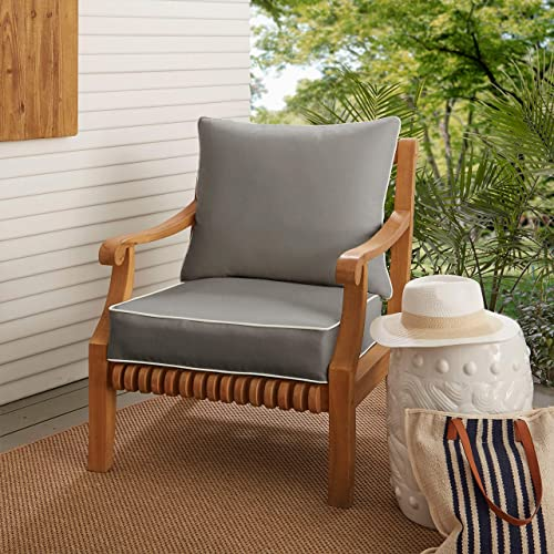 Humble and Haute Sunbrella Charcoal Grey with Ivory Indoor Outdoor Chair Cushion and Pillow Set, Corded