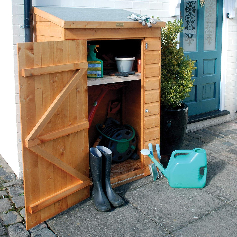 Bosmere MINIST Rowlinson Mini Store Lockable Wooden Outdoor Garden Storage Bench, Honey-Brown Finish