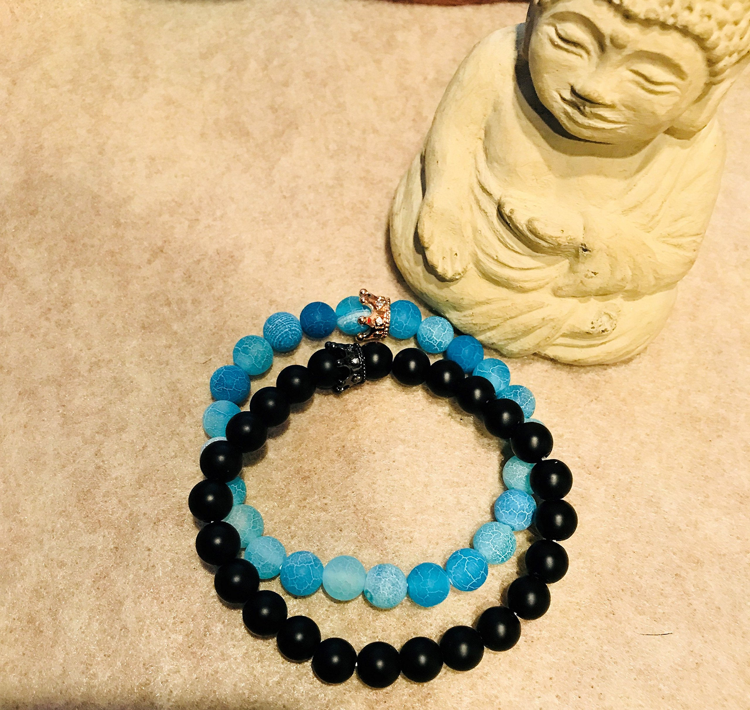 ISAACSONG.DESIGN Unisex Prayer Healing Round Natural Lava Turquoise Stone 8mm Beads Stretch Bracelet with Charms (Black Matte Agate & Blue Agate) by ISAACSONG.DESIGN (Image #5)