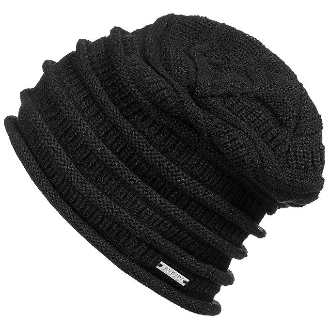 260f97ab37c Revony Evony Cotton Slouchy Beanie Hat - BE10 (Black) at Amazon ...