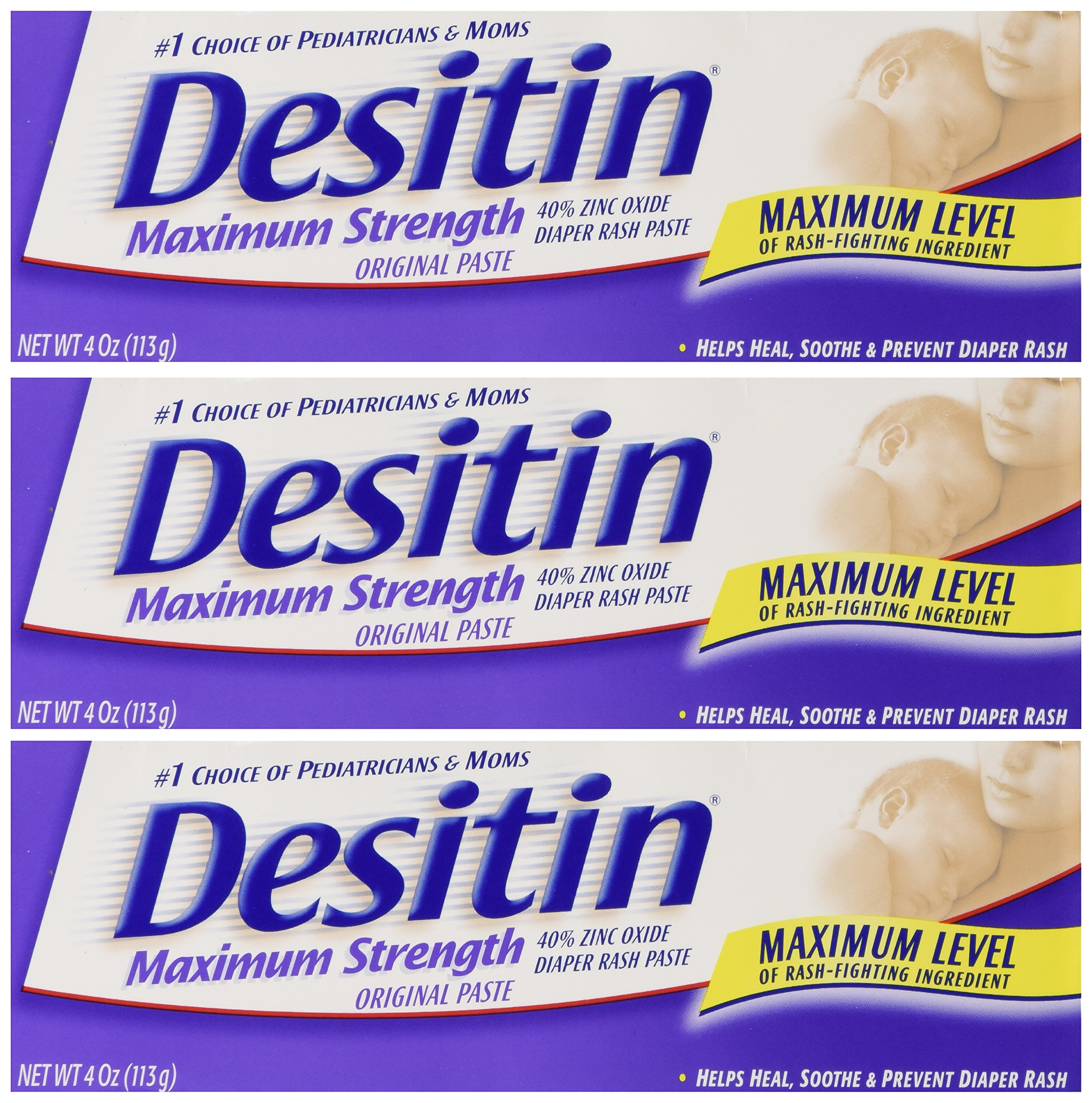 Desitin Maximum Strength Original Diaper Rash Paste 4 oz tube (Pack of 3)