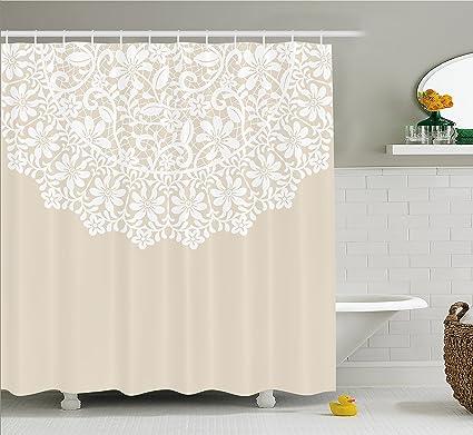 Lunarable Cream Shower Curtain Mandala Inspired Round Motif In Half Ornamental Flowers Graphic Lace Border