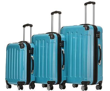 Beibye – Juego de 3 maletas de viaje rígidas con ruedas., turquesa, Kofferset