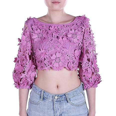 ingsist sueltos de la mitad de la mujer Clemallera Crochet encaje Floral Top blusa Camisa,