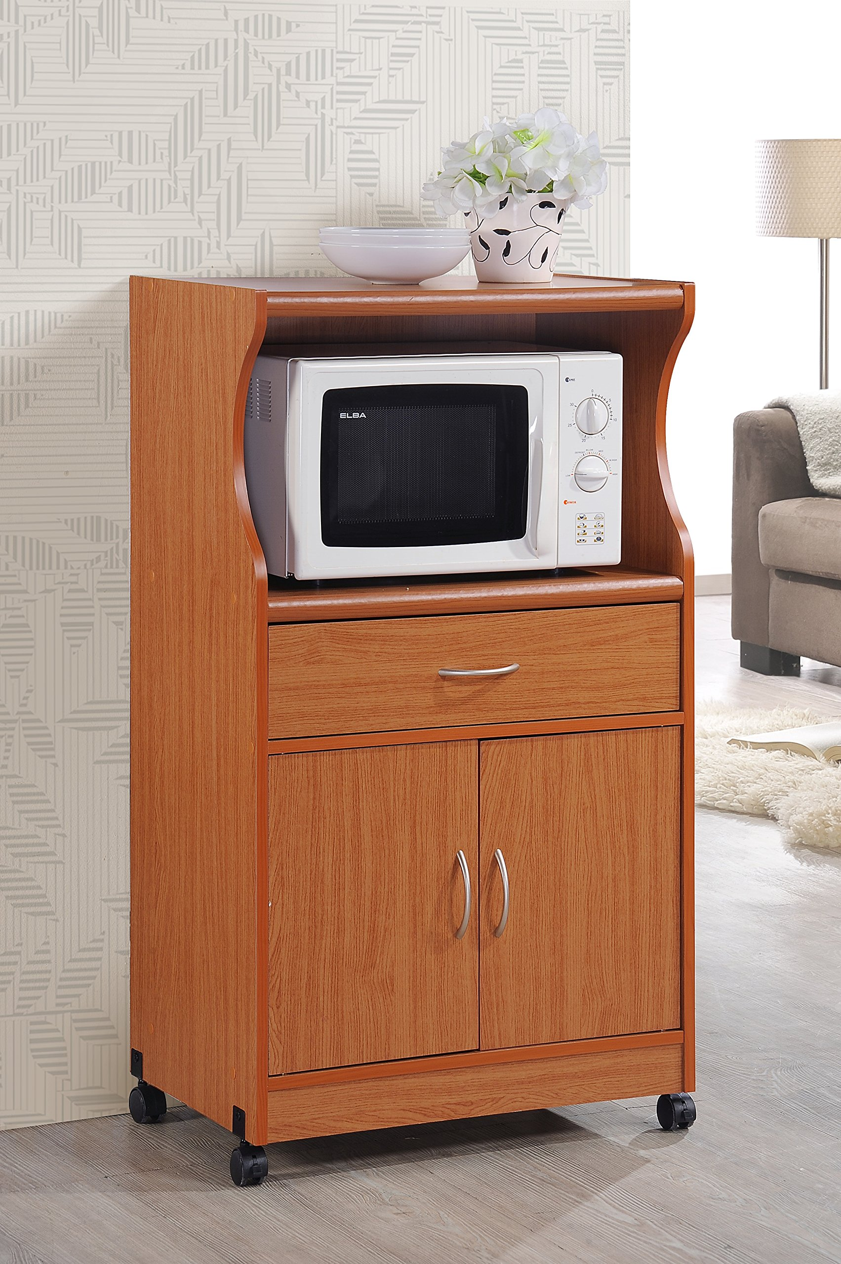 Hodedah Microwave Cart with One Drawer, Two Doors, and Shelf for Storage, Cherry by HODEDAH IMPORT (Image #2)