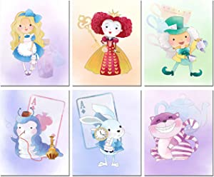 Alice in Wonderland Inspired Original Watercolor Prints Set of 6 Nursery Wall Art Decor (8 inches x 10 inches)