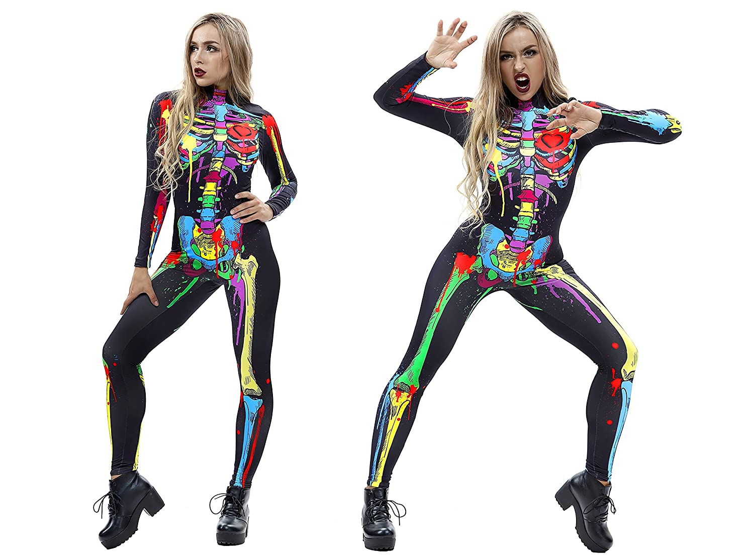Urvip Skelett Overall Damen Knochen Skeleton Halloween Kostum