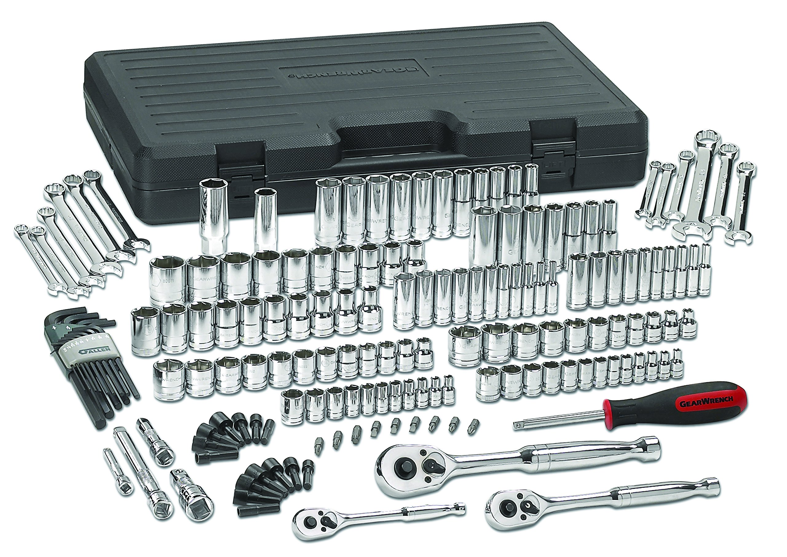 GEARWRENCH 165 Pc. 1/4'', 3/8'' & 1/2'' Drive 6 Point Standard & Deep SAE/Metric Mechanics Tool Set - 80932 by GearWrench