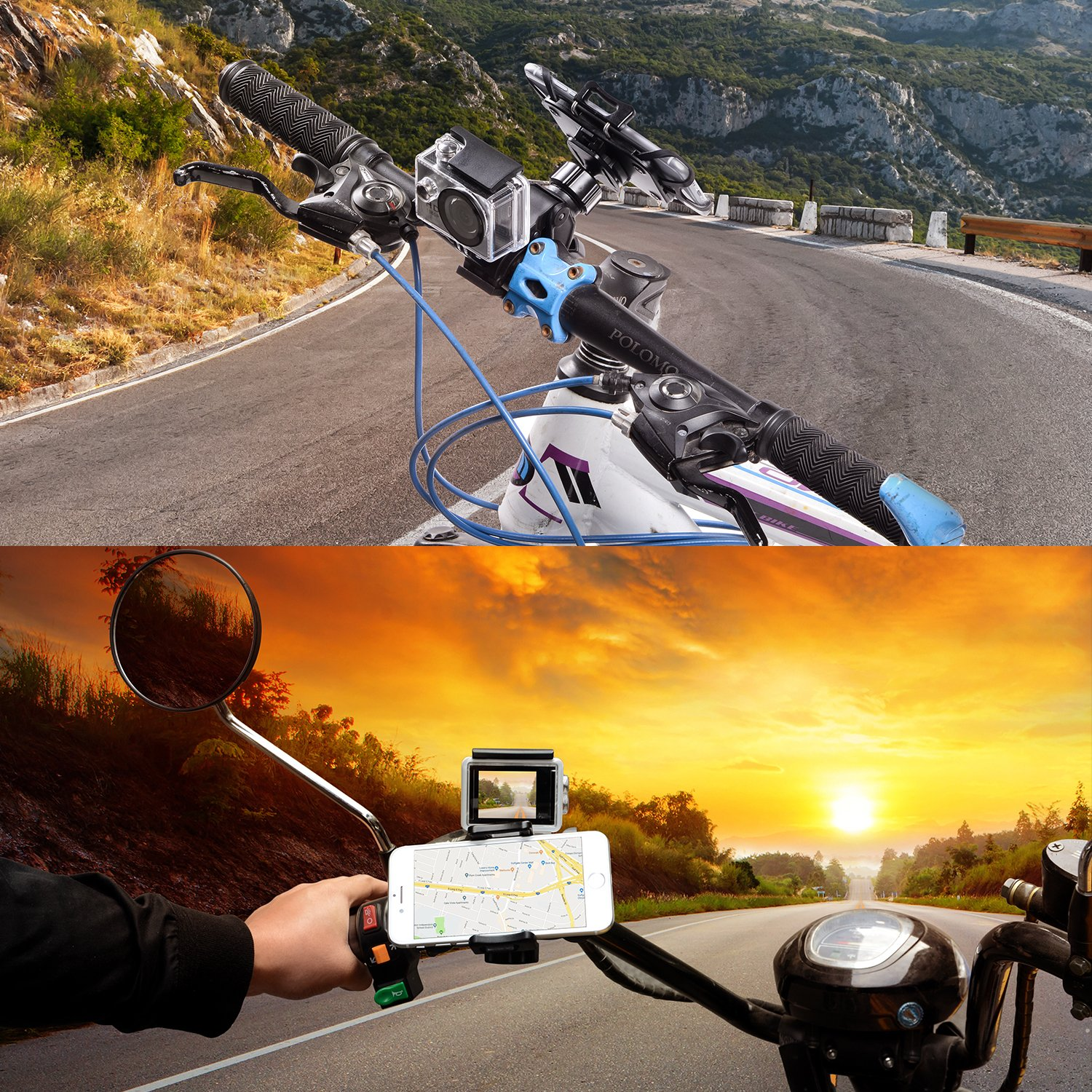 YELIN Bike Phone Mount Motorcycle Phone Holder Bike Camera Mount 2 in 1 Bicycle Holder Handlebar Clamp for Gopro Action Cam iPhone X 8 7 7 Plus 7s 6s Samsung Phone by YELIN (Image #7)