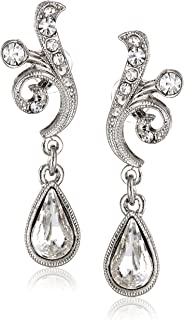 product image for 1928 Jewelry Silver-Tone Crystal Scroll Teardrop Earrings