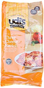 Udi's Gluten Free Gourmet Three Cheese Ravioli Skillet Meal, Family Size, 1 Pan Meal, Ready in 10 Minutes, 18 Ounce (Frozen)
