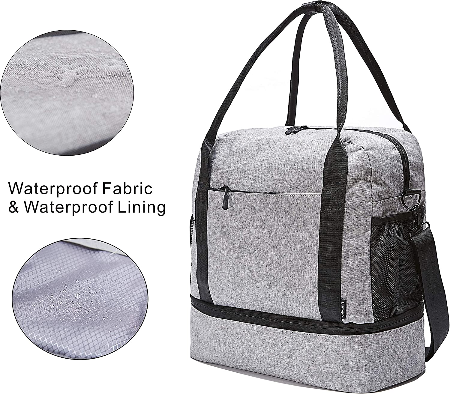 Slides over Luggage handle Carry-on Tote Duffel Bag with Bottom Compartment