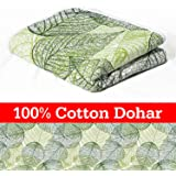 Divine Casa 100% Cotton ReversibleBlanket/Duvet Easyweight, AC Single DOHAR, Floral- Green