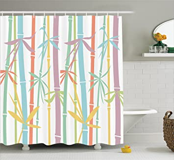 Ambesonne Japanese Decor Shower Curtain Set Colored Exotic Bamboo Stems Eastern Spiritual Tropic Organic Woody