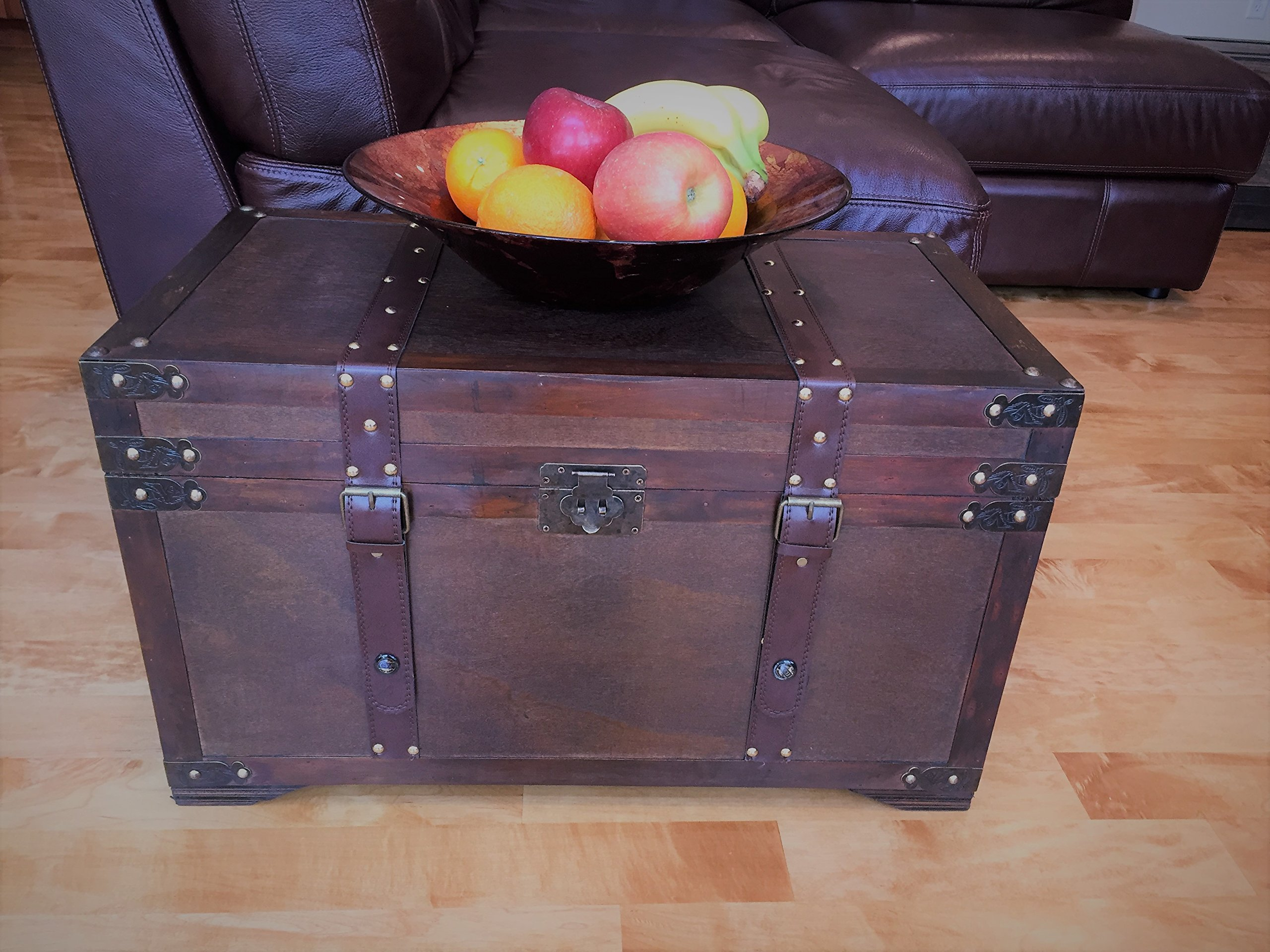 Gold Rush Steamer Trunk Wood Storage Wooden Treasure Chest - Medium Trunk