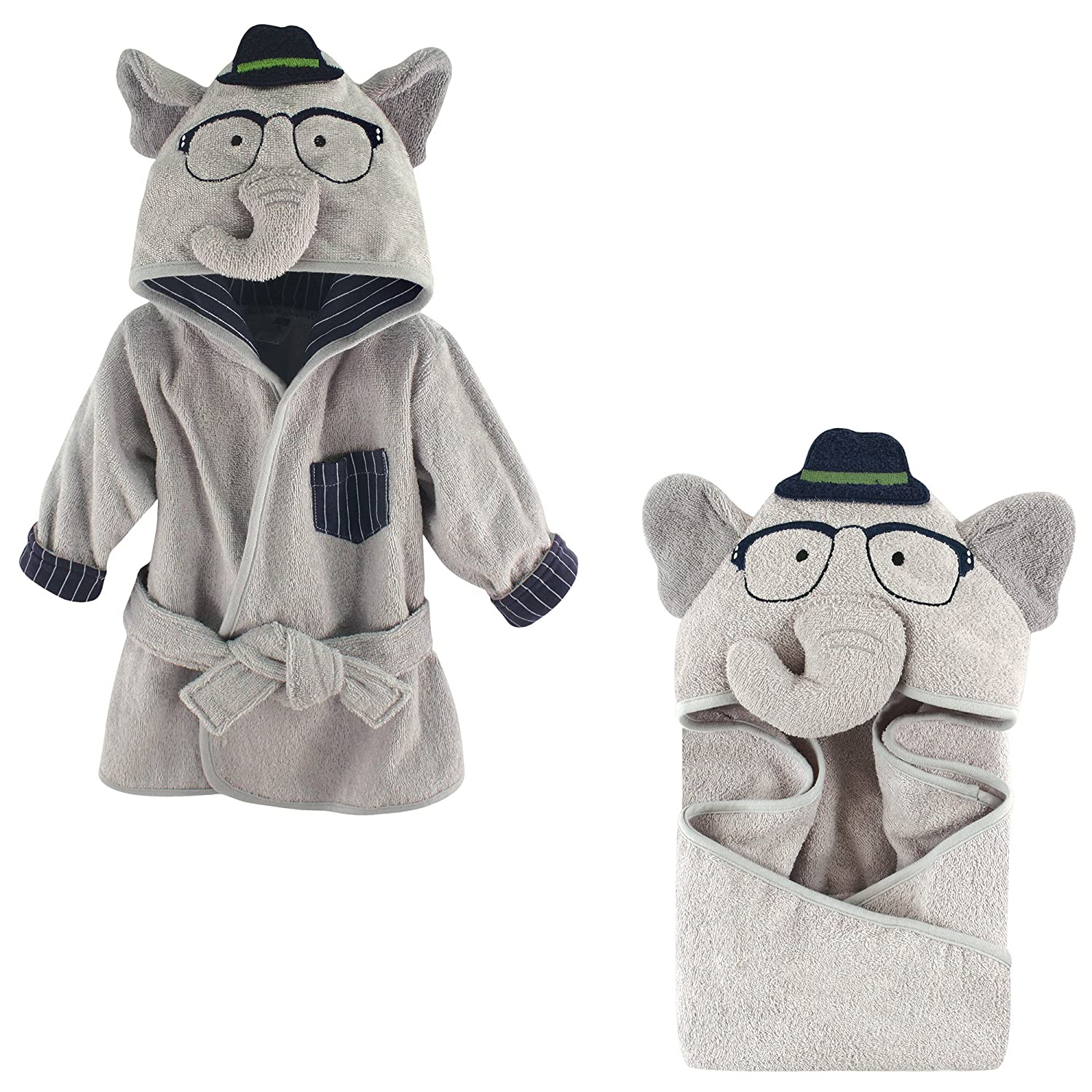Hudson Baby Terry Cotton Bath Robe and Hooded Towel, Smart Elephant