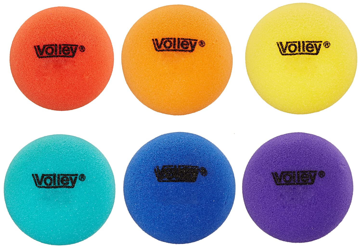 Set of 6 008491 Volley 3-1//2 in Uncoated Very Low Bounce Foam Balls