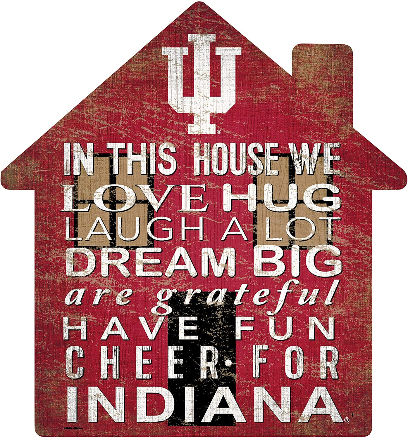 Fan Creations NCAA Indiana Hoosiers Unisex Indiana House Sign, Team Color, 12 inch