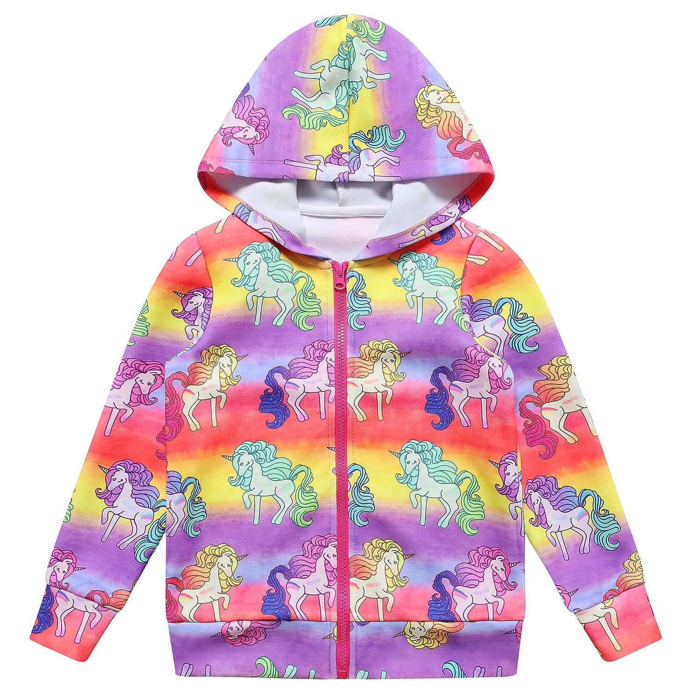 5877911ae Amazon.com  Girls Hoodie Unicorn Jacket Zip Up Sweatshirt Clothes ...
