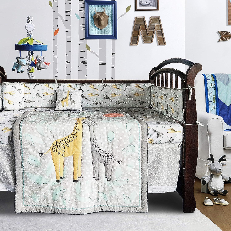 Crib Bedding Sets for Boys Woodland Giraffe Family Dot Design, Gray & Yellow, 8-Piece