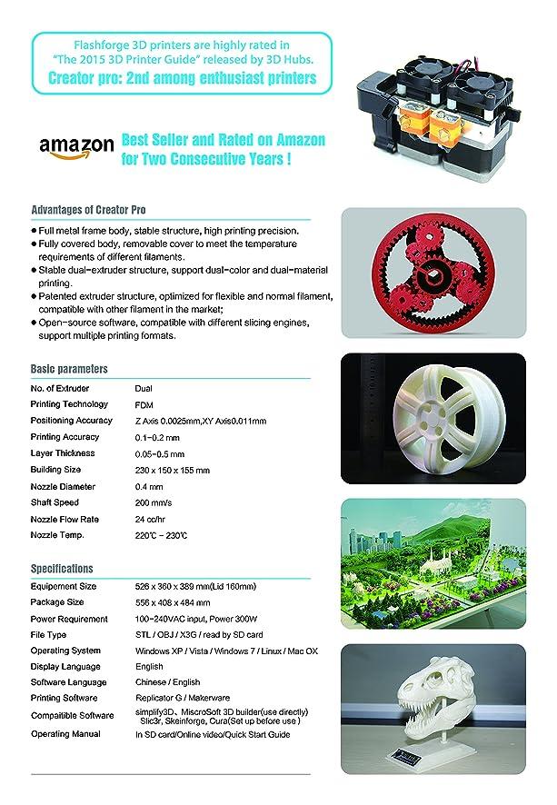 Amazon.com: Flashforge Creator 3D Printer: Electronics