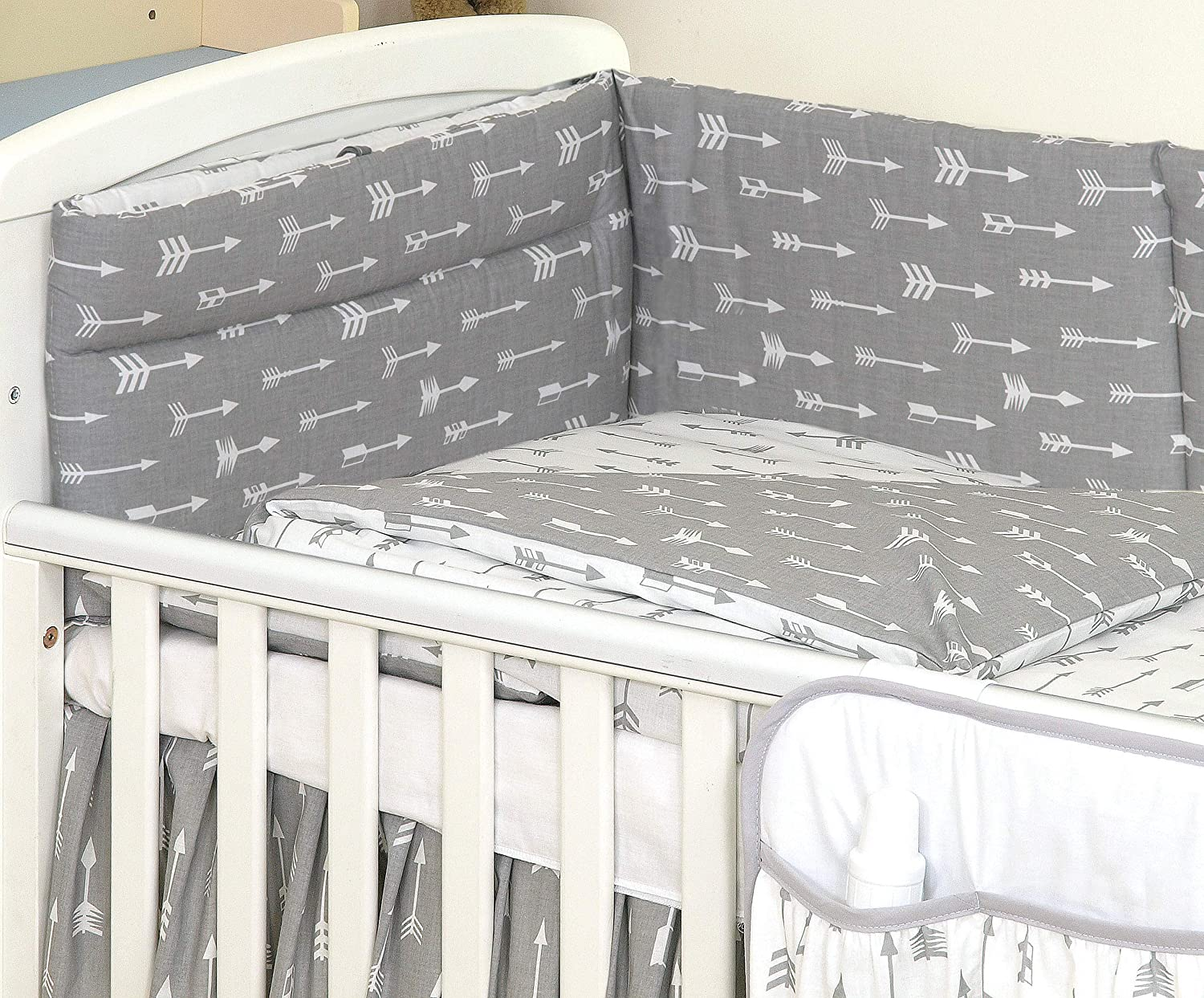 7 pc Set inc: Reversible Duvet Cover Holder+ Canopy with Free Bow and Hearts Bumper COT Bed 140X70 cm, Grey Elephant//Yellow DOTS Pillow case Duvet+ Pillow
