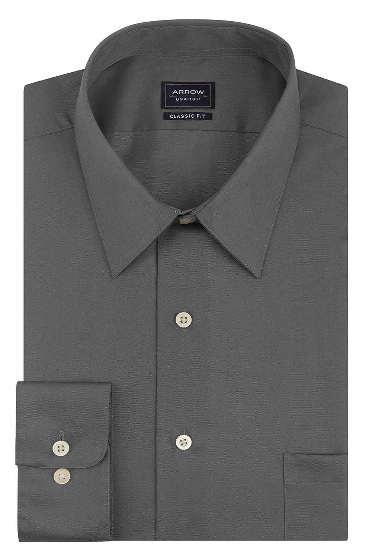 31e78b5486e Arrow Men s Sateen Regular-Fit Solid Point-Collar Dress Shirt ...