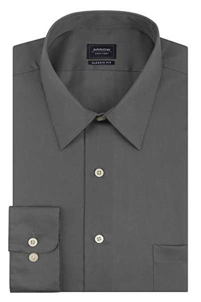 5900223e4a6 Arrow Men s Sateen Regular-Fit Solid Point-Collar Dress Shirt ...
