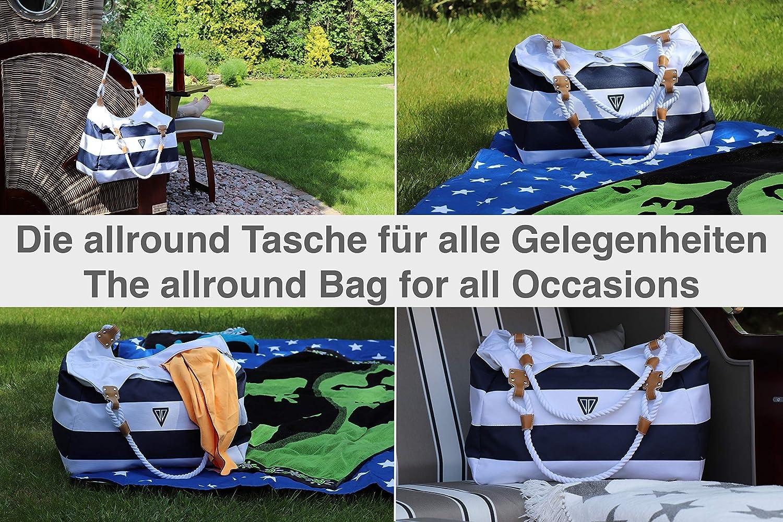 WildStage XL Grand sac de plage avec fermeture /Éclair et poche int/érieure 45 x 24 x 36 cm pour femme Sac /à bandouli/ère hebdomadaire Bleu et blanc