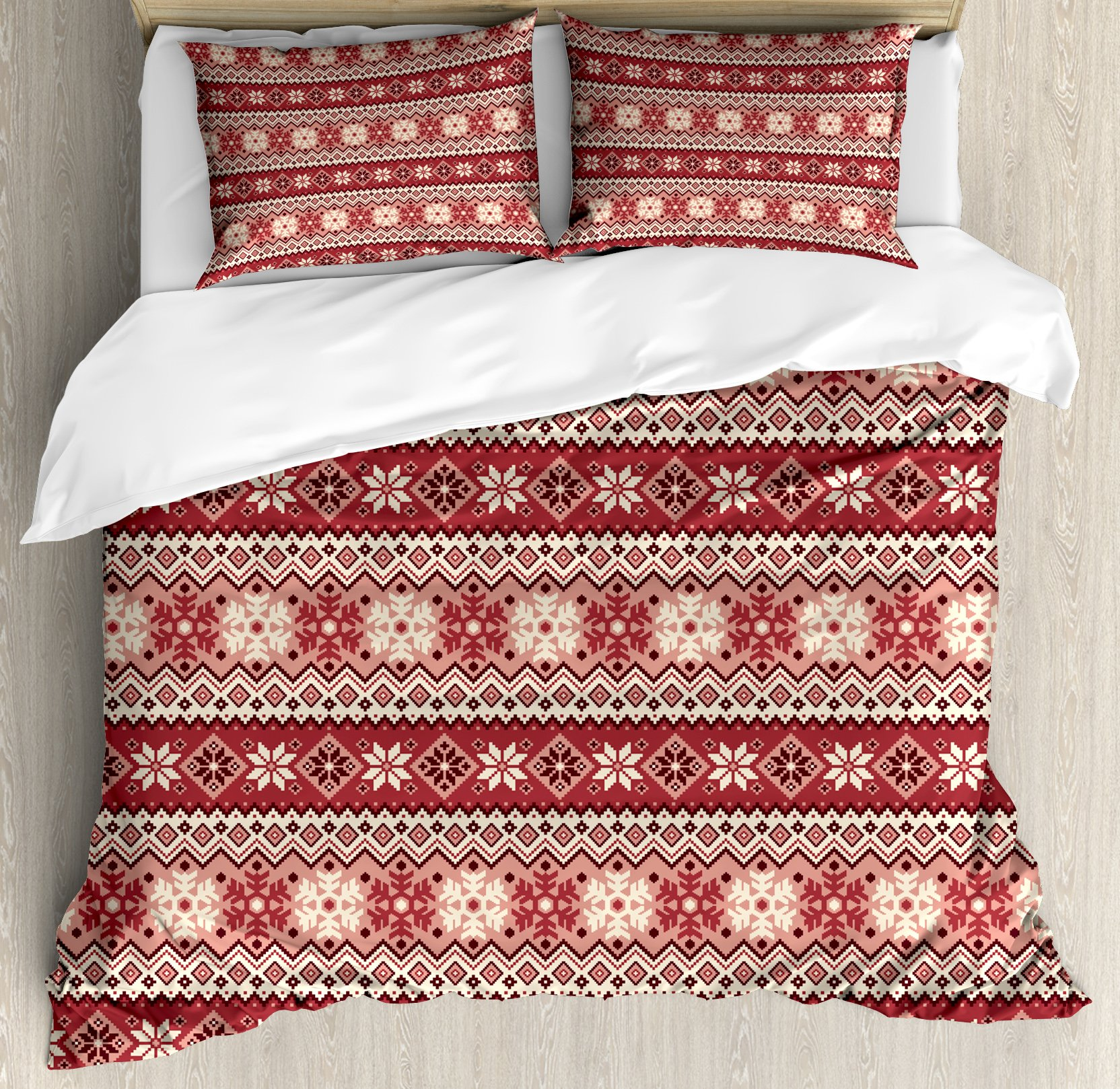 Nordic Duvet Cover Set King Size by Ambesonne, Ancestral Classic Scandinavian Geometric Pattern Christmas Snowflakes, Decorative 3 Piece Bedding Set with 2 Pillow Shams, Dark Coral Blush White