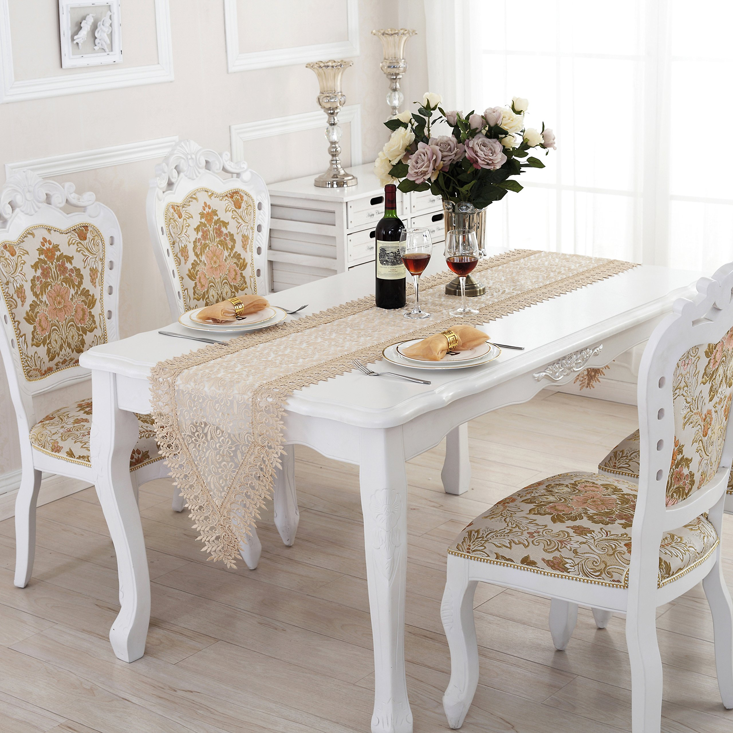 QXFSMILE White Lace Table Runner Embroidered Farbic Floral Table Cover Unique Home Decoration 16 By 120 Inch