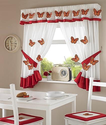 Un par de color rojo 3d diseño de mariposas cocina cortinas inc ...