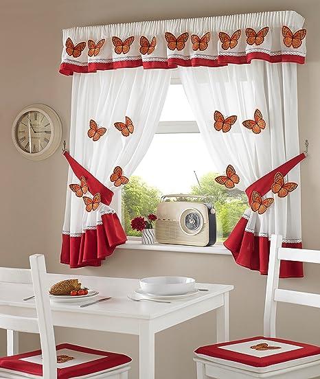 Coppia Di Tende Da Cucina Con Farfalle In 3d Colore Rosso