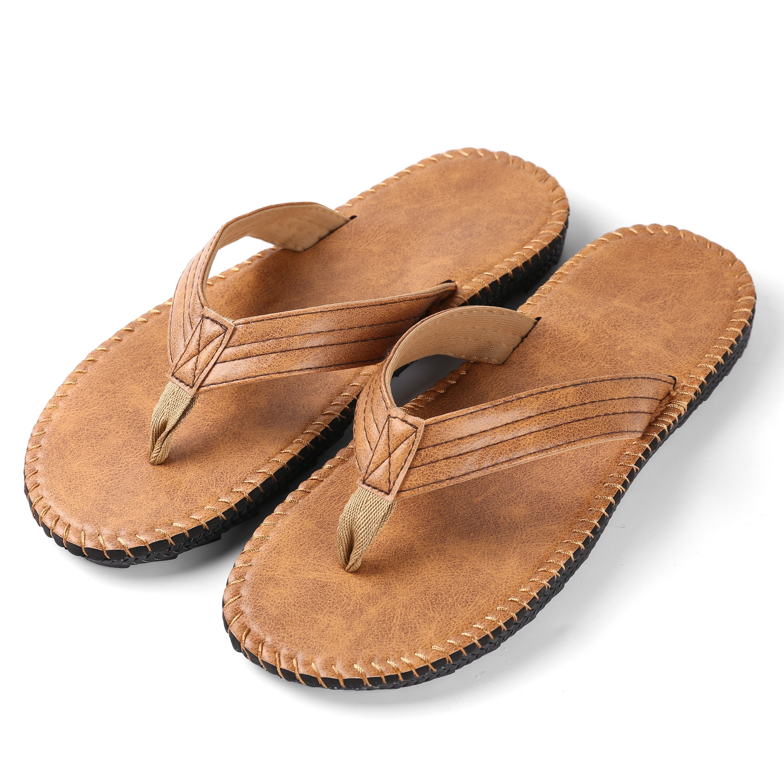 Aerusi Men's PU Leather Thong Slipper Summer Beach Outdoor Sandals Flip Flop (Size 10, Tan)