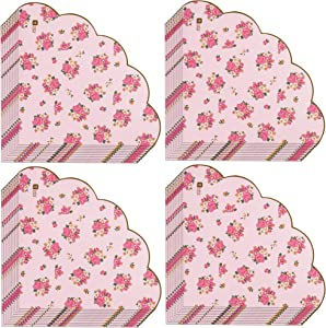 Talking Tables Truly Scrumptious Scalloped Floral Paper Table Napkins for a Tea Party, Pink (40 Pack)