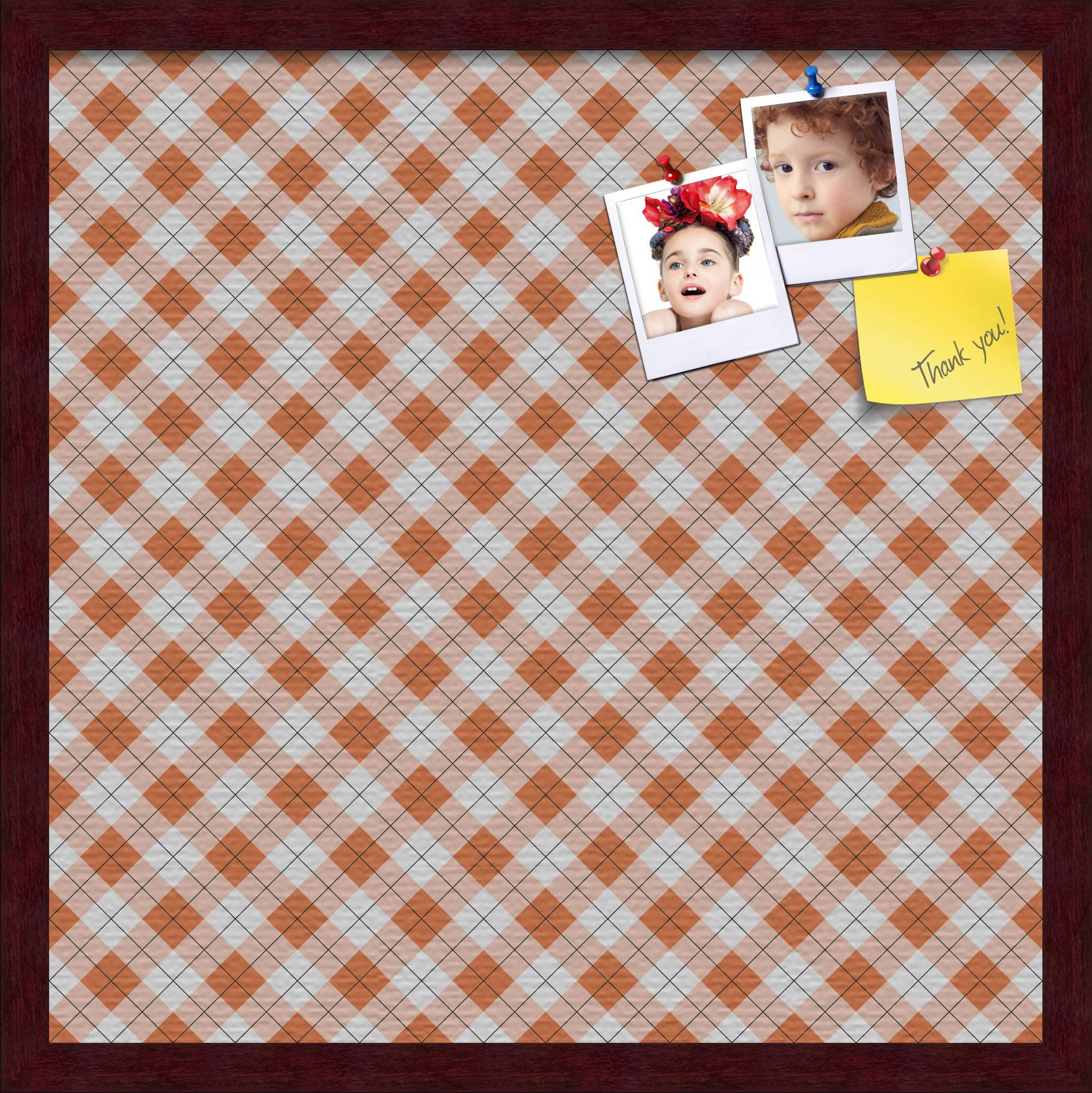 ArtToFrames 20x20 Inch Custom Cork Bulletin Board. This Argyle Burnt Orange Pin Board Comes with a Fabric Style Canvas Finish, in a Mahogany Frame (PinPix-634-20x20_FRBW26039)