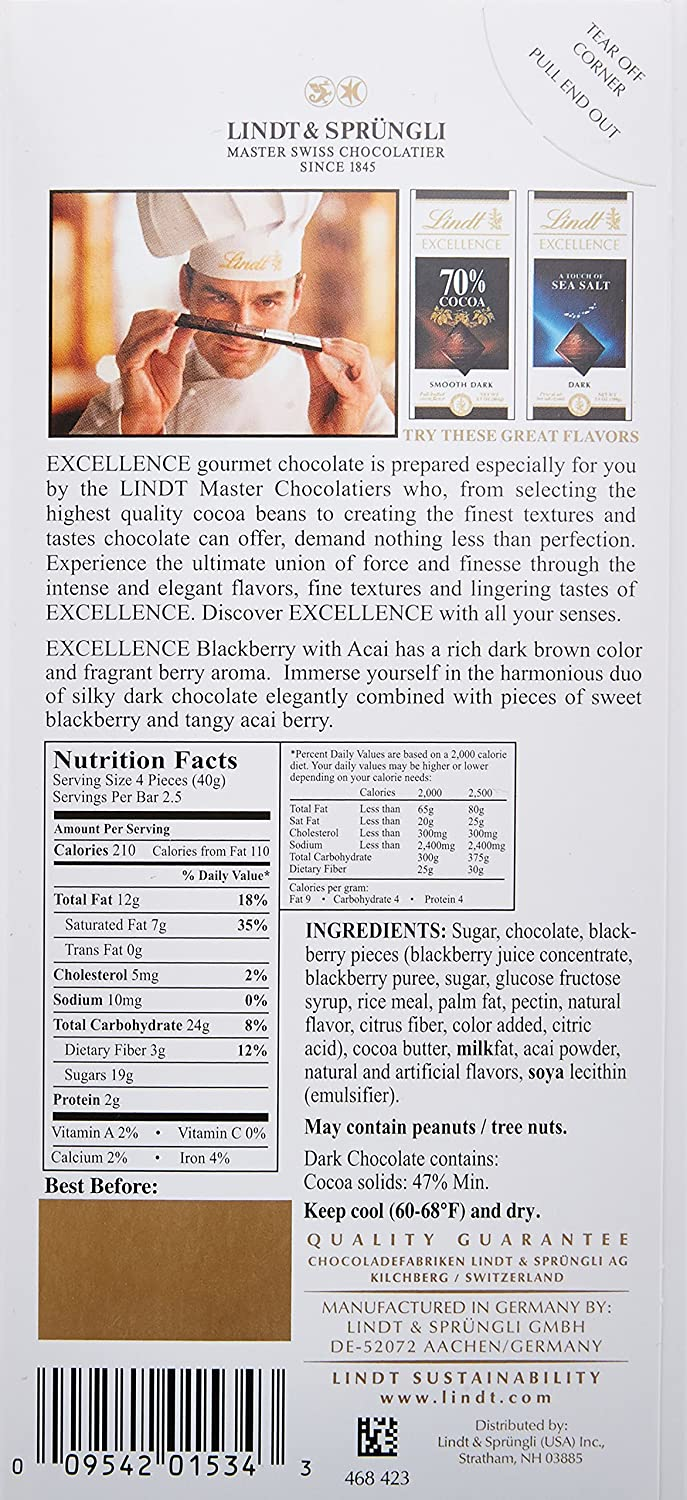 Amazon.com : Lindt EXCELLENCE Blackberry with Acai (Pack of 12 ...