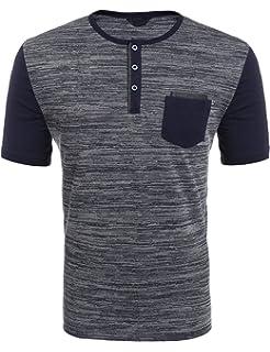 Wixens Herren T-Shirt Kurzarm Melierte Optik Aufgesetzte Brusttasche  V-Ausschnitt mit Knöpfe- 390a14604e