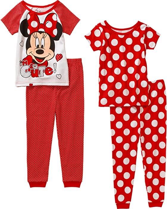 8c22bdb34125 Amazon.com  Minnie Mouse Toddler Girl 4-Piece Cotton Tight Fit Short ...