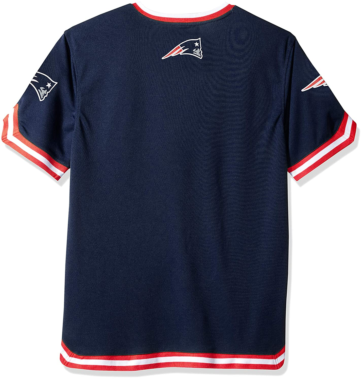 b75c34a8 Ultra Game NFL New England Patriots Men's Standard Jersey T V-Neck Mesh  Stripe Tee Shirt, Team Color, Navy, Large